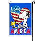 Patriotic Peanuts Love America Garden Flag 12